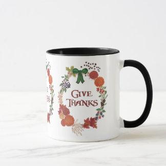 カスタムな感謝祭は感謝の秋のリースを与えます マグカップ