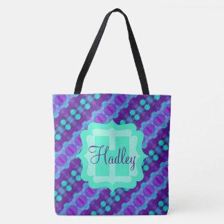 カスタムな文字が付いている紫色かティール(緑がかった色)の水彩画パターンII トートバッグ