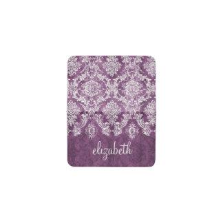 カスタムな文字が付いている紫色のグランジなダマスク織パターン 名刺入れ