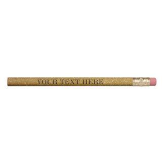 カスタムな文字が付いている金ゴールドのグリッターの鉛筆 鉛筆