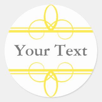 カスタムな文字が付いている黄色及び白いステッカーかラベル ラウンドシール