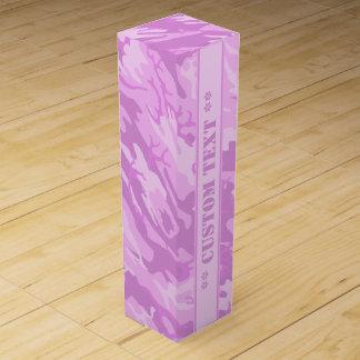 カスタムな文字とのピンクの迷彩柄 ワインギフトボックス