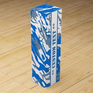 カスタムな文字との氷水の青い迷彩柄 ワインギフトボックス