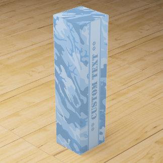 カスタムな文字との淡いブルーの迷彩柄 ワインギフトボックス