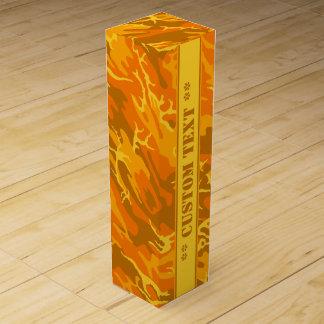 カスタムな文字との秋のオレンジ迷彩柄 ワインギフトボックス