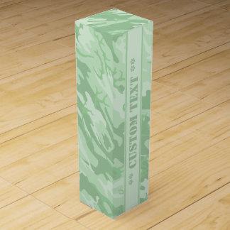 カスタムな文字との薄緑の迷彩柄 ワインギフトボックス