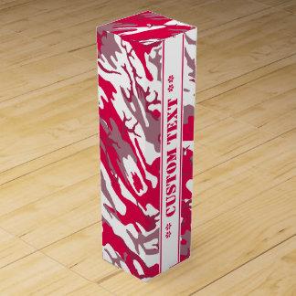 カスタムな文字との赤い迷彩柄 ワインギフトボックス