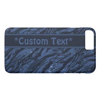 カスタムな文字との青くストライプのな迷彩柄 iPhone 8 PLUS/7 PLUSケース