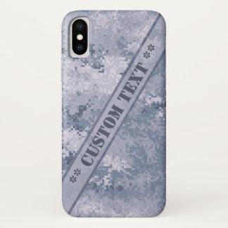カスタムな文字とのDigiの灰色の迷彩柄 iPhone X ケース