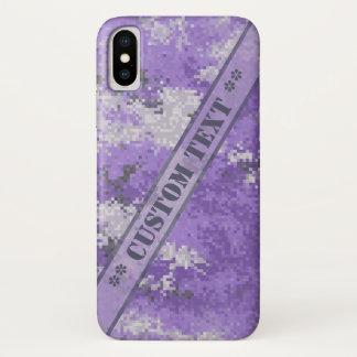 カスタムな文字とのDigiの紫色の迷彩柄 iPhone X ケース