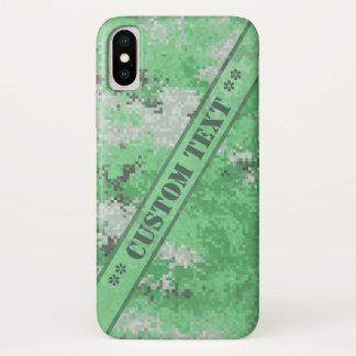 カスタムな文字とのDigiの緑の迷彩柄 iPhone X ケース