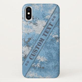 カスタムな文字とのDigiの青い迷彩柄 iPhone X ケース