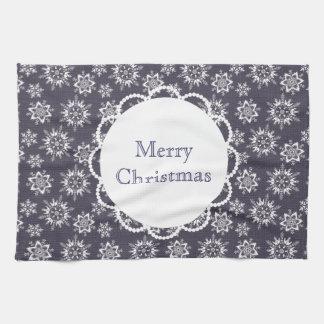 カスタムな文字のメリークリスマスの雪片のふきん キッチンタオル