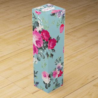 カスタムな文字のヴィンテージばら色パターンワイン用化粧箱 ワインギフトボックス