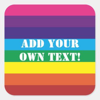 カスタムな文字の虹のストライプなステッカー スクエアシール