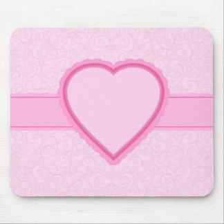 カスタムな文字または一流のピンクのハート マウスパッド
