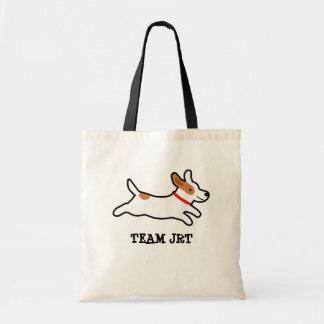 カスタムな文字を持つジャックラッセルテリアの漫画犬 トートバッグ