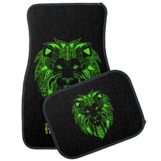 カスタムな文字を持つ蛍光緑および黒いライオン カーマット