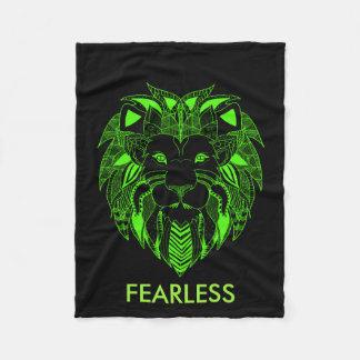カスタムな文字を持つ蛍光緑および黒いライオン フリースブランケット