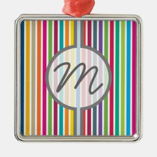 カスタムな文字-カラフルなキャンデーは縞で飾ります メタルオーナメント