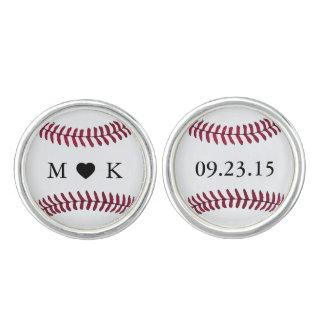 カスタムな新郎新婦のモノグラムの野球 カフスボタン