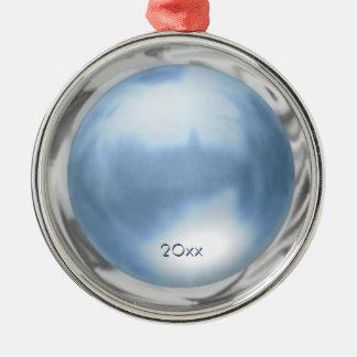 カスタムな日付との青い大理石の金属効果 メタルオーナメント