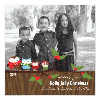 カスタムな明るいフクロウのクリスマスのホリデーカード カード