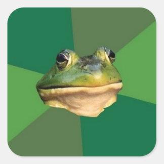カスタムな汚れた独身のカエルのステッカー スクエアシール