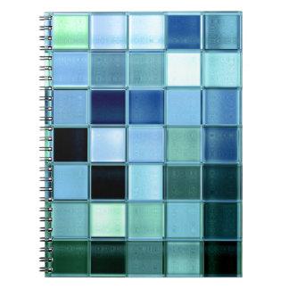 カスタムな海のガラスモザイク正方形パターンノート ノートブック