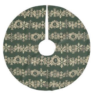 カスタムな深緑色および金ゴールドの雪片の木のスカート ブラッシュドポリエステルツリースカート
