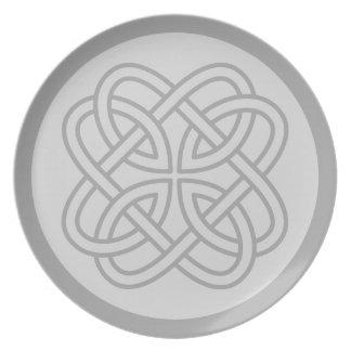 カスタムな灰色のケルト族の花の結婚式のプレート/大皿 プレート