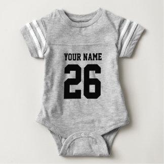 カスタムな灰色はフットボールのjerseyの赤ん坊のボディスーツを遊ばします ベビーボディスーツ