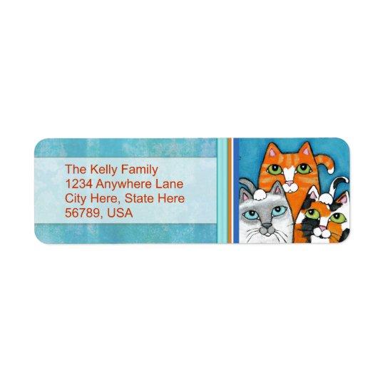 カスタムな猫の差出人住所ラベル 返信用宛名ラベル