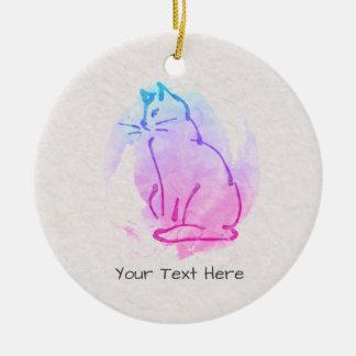 カスタムな猫の水彩画のスケッチ-これのあなたの文字 セラミックオーナメント