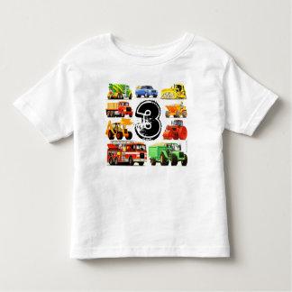 カスタムな男の子の建築のトラックの第3誕生日 トドラーTシャツ