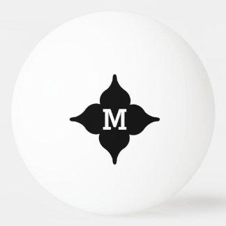 カスタムな白黒名前入りなモノグラム 卓球 ボール