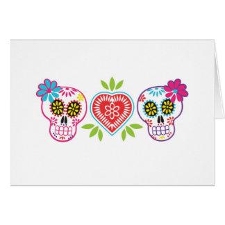 カスタムな砂糖のスカルおよび花のメッセージカード カード