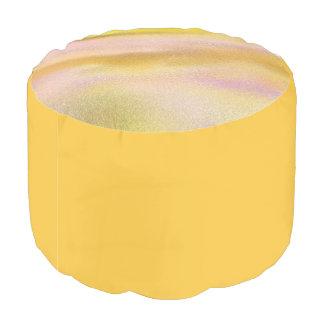 カスタムな等級のAによって編まれる綿のラウンドパフの金ゴールド プーフ
