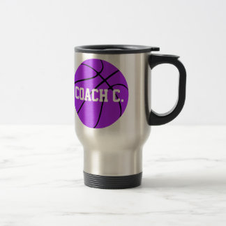 カスタムな紫色のバスケットボール トラベルマグ