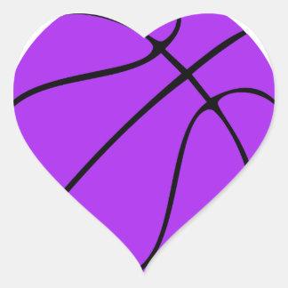 カスタムな紫色のバスケットボール ハートシール