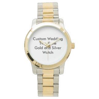 カスタムな結婚式のツートーン金ゴールドおよび銀の腕時計 腕時計