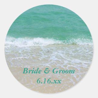 カスタムな結婚式のビーチの好意のステッカー ラウンドシール