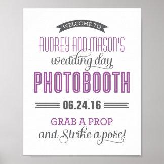 カスタムな結婚式の写真ブースの印|の紫色の灰色 ポスター