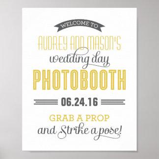 カスタムな結婚式の写真ブースの印|の黄色い灰色 ポスター