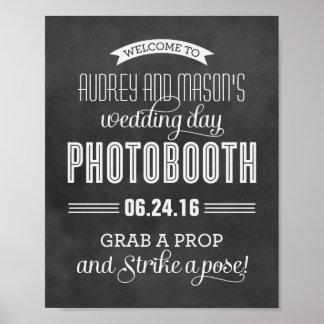 カスタムな結婚式の写真ブースの印 の黒い黒板 ポスター