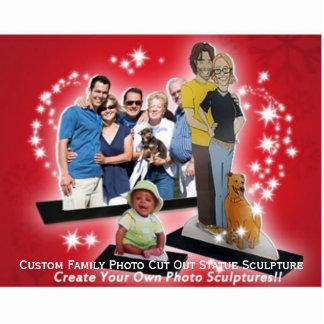 カスタムな結婚式の家族写真の切り取られた彫像を作成して下さい 写真彫刻(台付き)