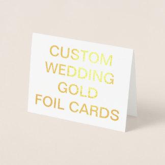 カスタムな結婚式の小さく名前入りな金ゴールドホイルカード 箔カード
