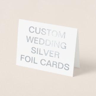 カスタムな結婚式の小さく名前入りな銀ぱくカード 箔カード