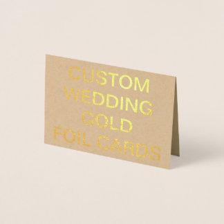 カスタムな結婚式の小型名前入りな金ゴールドホイルカード 箔カード