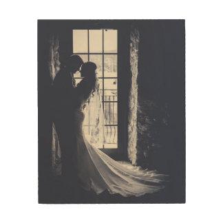 カスタムな結婚式ポートレート ウッドウォールアート